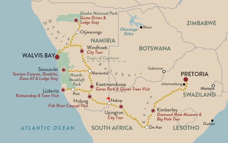 Map of Dune Express Shongololo Express Rail Tour by Tales from Africa Travel in South Africa - Namibia