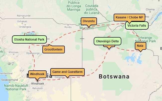 Wildlife and waterfalls motorbike tour map