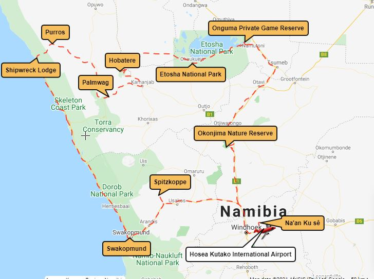 Map Tales from Africa Travel Life between desert and sea North Namibia tour